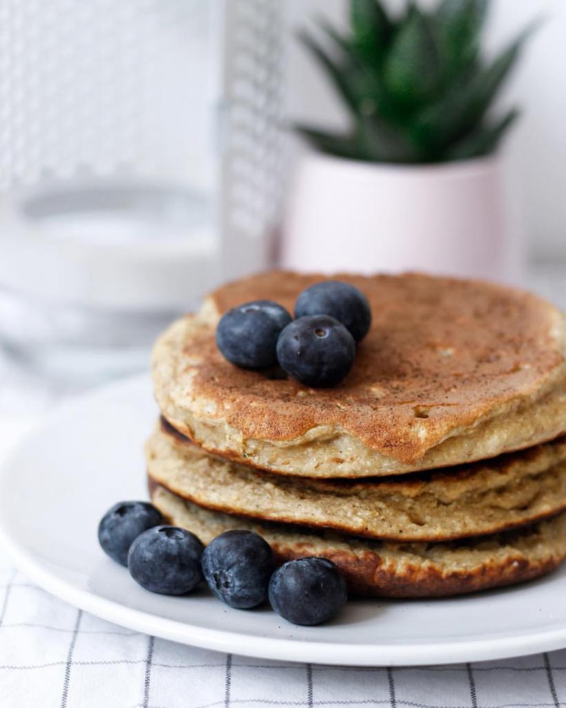 Pancakes sans gluten blueberries et banane