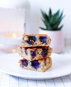 Gâteau à la vanille et blueberries