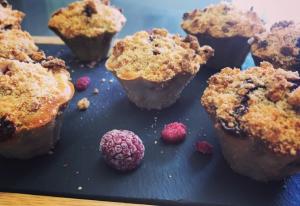 Recette de muffins aux framboises façon crumble