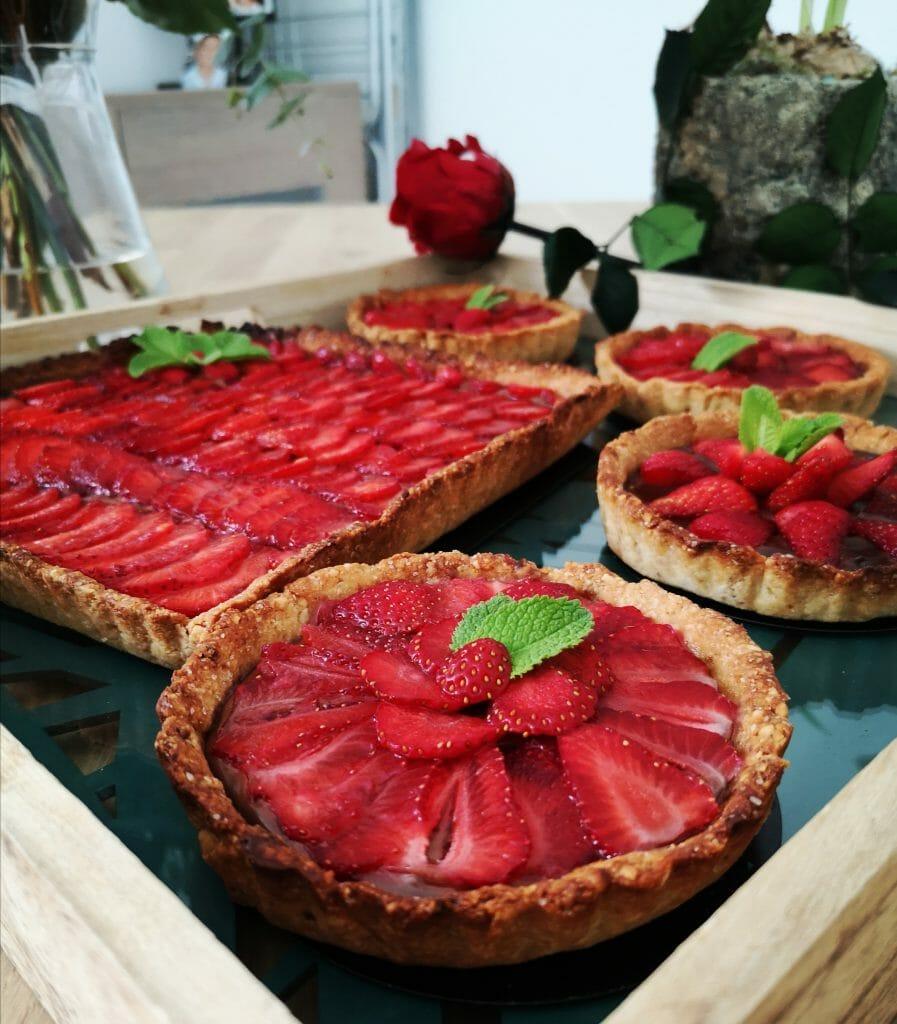 Tarte aux fraises choco-noisettes
