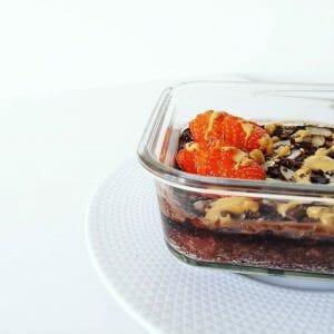 Porridge au four chocolat et Fraises