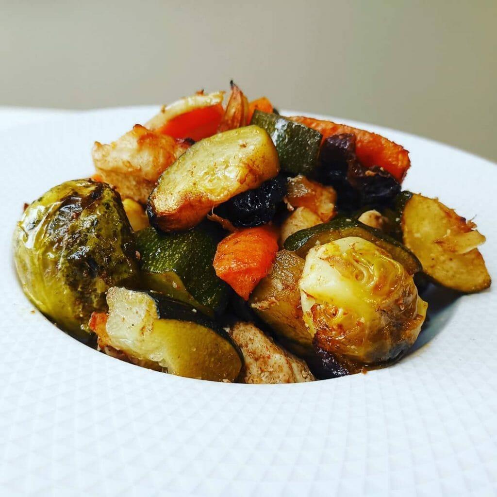 Poulet et légumes rotis au miel