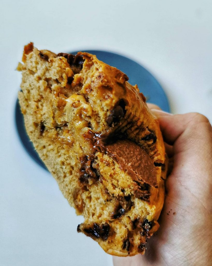 Giant peanut butter muffin